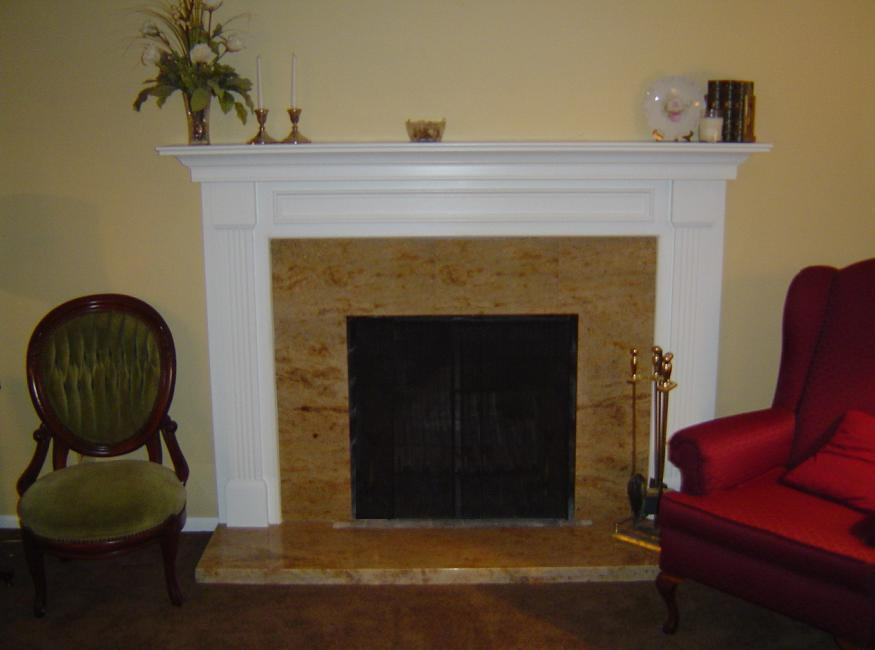 After Installation of Fireplace Mantel